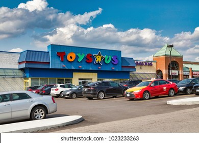 TORONTO, CANADA - AUGUST 15, 2017: View of a Toysrus toy store in a commercial building in the city