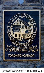 """Toronto, Canada - August 18, 2017: View of sign """"The Old Mill Inn"""" one of the most famous Hotels in Toronto"""