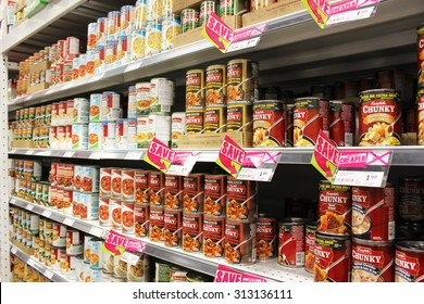 TORONTO, CANADA - AUGUST 19, 2014: Canned food products on shelves in a supermarket in Toronto, Ontario, Canada.