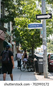 TORONTO, CANADA - AUGUST 21, 2017: FACING SOUTH ON RONCESVALLES AT GALLERY AVE.