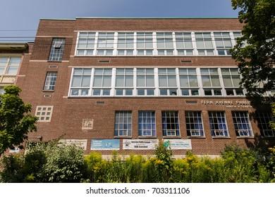 TORONTO, CANADA - AUGUST 21, 2017: FERN AVEUNE PUBLIC SCHOOL IN HIGH PARK/RONCESVALLES NEIGHBOURHOOD.