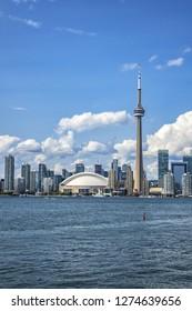 TORONTO, CANADA - AUGUST 24, 2017: The beautiful Toronto's skyline over Lake Ontario. Urban architecture of Toronto city. Ontario, Canada.