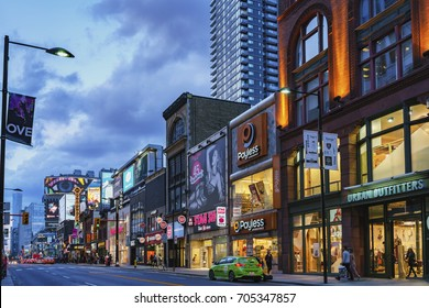 TORONTO, CANADA - AUGUST 24, 2017: Yonge Street - the main street of Toronto at night.