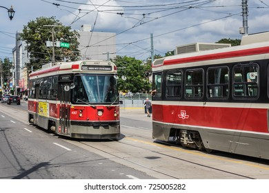 TORONTO, CANADA - AUGUST 24, 2017: City transportation: streetcar. Toronto streetcar system comprises eleven streetcar routes in Toronto, operated by Toronto Transit Commission (TTC).