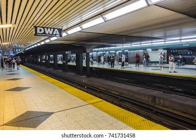 TORONTO, CANADA - AUGUST 24, 2017: Subway station platform in Toronto. Toronto subway and RT encompass four lines and 69 stations.