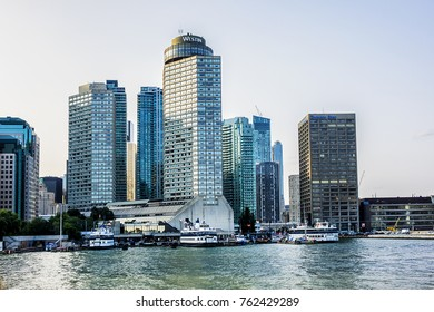 TORONTO, CANADA - AUGUST 24, 2017: The beautiful Toronto's skyline over Lake Ontario at sunset. Urban architecture. Ontario, Canada.