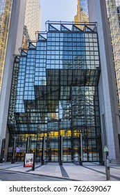 TORONTO, CANADA - AUGUST 24, 2017: Modern Architecture in Downtown Toronto. Downtown Toronto has prominent buildings in a variety of styles by many famous architects. Sunset.