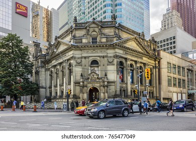 TORONTO, CANADA - AUGUST 24, 2017: View of Hockey Hall of Fame, dedicated to history of ice hockey, exhibits about players, teams, NHL records, memorabilia and trophies.