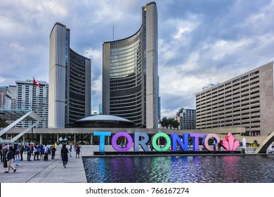 TORONTO, CANADA - AUGUST 24, 2017: City Hall (or New City Hall, 1965). City Hall is home of municipal government of Toronto, one of Toronto's best known landmarks.