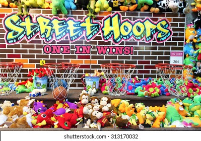 TORONTO, CANADA - AUGUST 25, 2014: Prizes in a game booth at Canadian National Exhibition in Toronto, Ontario, Canada. CNE is largest annual fair in Canada and the seventh largest in North America.