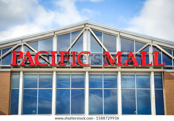 Toronto, Canada - August 25, 2019: Sign of Pacific Mall in front of the mall building.