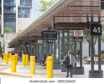 Toronto, Canada, August 29, 2020; The platform at the Toronto Union Station GO bus terminal located  downtown next to the commuter railway station