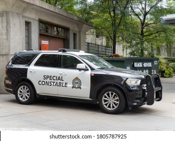 Toronto, Canada, August 29, 2020; A GO transit transit police special constable vehicle at the Union Station bus terminal in Toronto