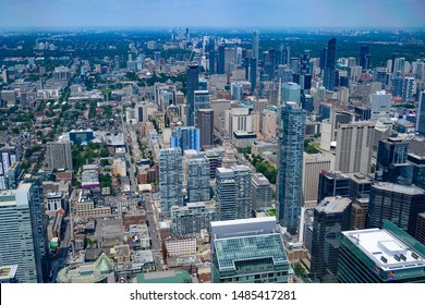 Toronto, Canada. August 5, 2019.   Panoramic view from Toronto  CN Tower at daytime.