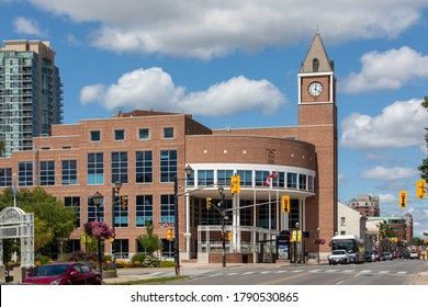 Toronto, Canada, August 5, 2020; Brampton city hall on Hurontario Street by Gage Park in summer