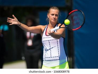 TORONTO, CANADA - AUGUST 8 : Petra Kvitova of the Czech Republic at the 2017 Rogers Cup WTA Premier 5 tennis tournament