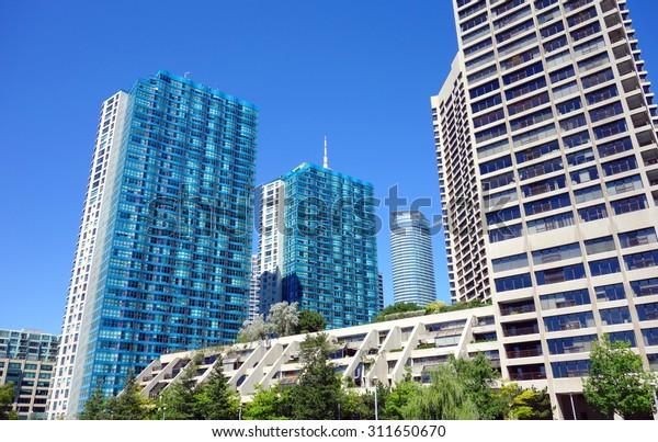 TORONTO, CANADA - AUGUST 9, 2015: Modern luxury condominiums on the Lake Ontario in Toronto, Canada.