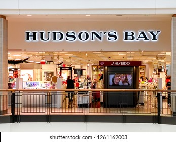 TORONTO, CANADA - December 17, 2018: Hudson's Bay storefront at  Fairview Mall in Toronto. The Hudson's Bay Company is a Canadian retail business group.