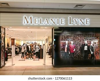 Toronto, Canada - December 17, 2018: Melanie lyne storefront in Toronto. Melanie Lyne is an Canadian fashion brand.