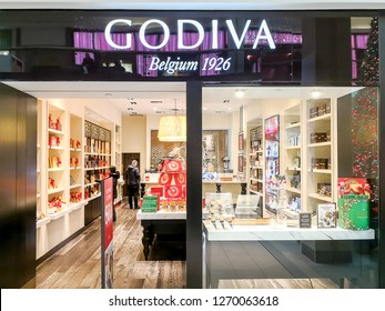 Toronto, Canada - December 17, 2018: Godiva chocolate store at Fairview Mall in Toronto. Godiva Chocolatier is a manufacturer of fine chocolates and related products, founded in Belgium in 1926.