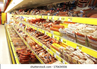 TORONTO, CANADA - DECEMBER 18, 2013: Processed meat products in a grocery store. North America is one of the leading consumers of processed meats in the world.