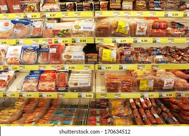 TORONTO, CANADA - DECEMBER 18, 2013: Processed meat products in a grocery store.North America is one of the leading consumers of processed meats in the world.