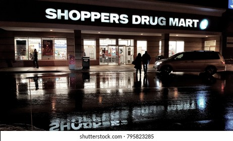 TORONTO, CANADA - DECEMBER 19, 2017: A Shoppers Drug Mart store in Toronto, Canada.