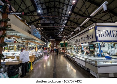 TORONTO, CANADA - DECEMBER 20, 2016: Interior of St Lawrence market with fish market stalls in the early morning. Saint Lawrence market is one of the main landmarks of Toronto