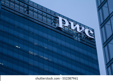 TORONTO, CANADA - DECEMBER 21, 2016: PWC (Pricewaterhousecoopers) main office for Canada in the evening in Toronto