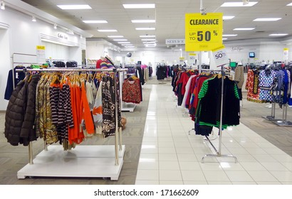 TORONTO, CANADA - DECEMBER 24, 2013: Items on sale at the Hudson's Bay department store. Hudson's Bay is a chain of 90 department stores that operate across parts of Canada.