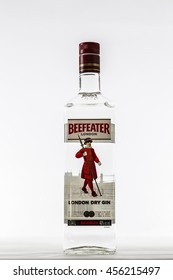 TORONTO, CANADA - DECEMBER 29, 2015 : Beefeater Dry Gin Bottle of Alcohol Illustrative Editorial on Bright Background