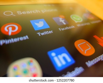 Toronto, Canada. December 5, 2018 - social media applications on smartphone screen. facebook, twitter, pinterest, linkedin apps close up.