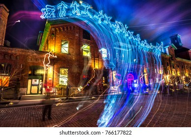 Toronto, Canada - Feb 23, 2017. Toronto Light Festival at the distillery district