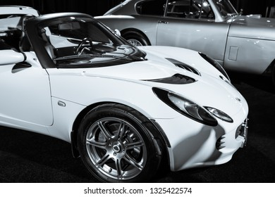 TORONTO CANADA - FEB 23 2019: 2019 Lotus Elise. It is a mid-engine, rear-drive Elise roadster.  The model on display is a second-gen 2006 model powered by a Toyota-sourced 1.8-litre 4-cylinder engine