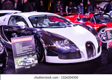TORONTO CANADA - FEB 23 2019: 2008 Bugatti Veyron EB 16.4. Powered by an incredible 8.0-litre W-16 engine on display at the Canadian International Auto Show in Toronto