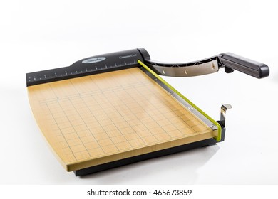TORONTO, CANADA - FEBRUARY 10, 2016 : Swingline Brand of Paper Cutter in an Illustrative Editorial on a Plain Bright Background