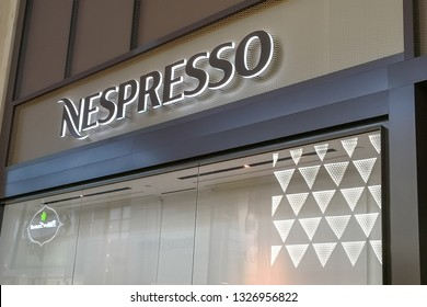 Toronto, Canada - February 10, 2019: Nespresso store sign in the mall in Toronto. Nespresso is an operating unit of the Nestlé Group, based in Switzerland.