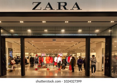 Toronto, Canada - February 10th, 2018: Zara storefront in the Eaton Centre shopping mall in Toronto. Zara is a Galician fast fashion (clothing and accessories) retailer based in Galicia (Spain).