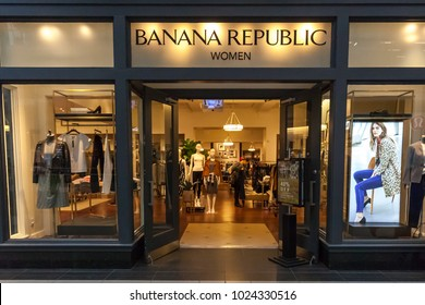 Toronto, Canada - February 10th, 2018: Banana Republic storefront in the Eaton Centre shopping mall in Toronto, an American clothing and accessories retailer.