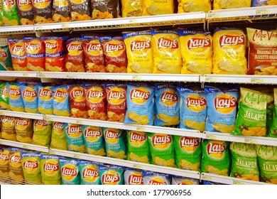TORONTO, CANADA - FEBRUARY 11, 2014: Potato chips selection in a supermarket in Toronto, Canada.