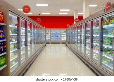 TORONTO, CANADA - FEBRUARY 11, 2014: The frozen food aisle in a supermarket in Toronto, Canada.