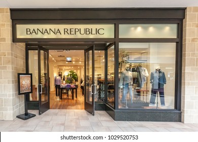 Toronto, Canada - February 12, 2018: Banana Republic storefront in Bayview Village Shopping Centre. Banana Republic is a retailer operated by Gap, an American clothing and accessories retailer.