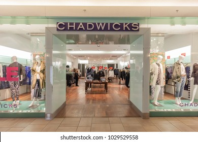 Toronto, Canada - February 12, 2018: Chadwick's storefront in Bayview Village Shopping Centre, the place for the modern, yet classic woman.