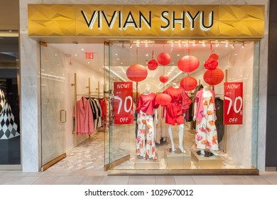 Toronto, Canada - February 12, 2018: Vivian Shyu storefront in Bayview Village Shopping Centre. Vivian Shyu is recognized in the Canadian fashion industry for her design creativity and business acumen