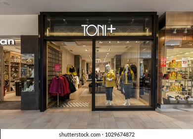Toronto, Canada - February 12, 2018: Toni Plus storefront in Bayview Village Shopping Centre. Toni Plus is Canada's exclusive high-end, plus-sized clothing chain.