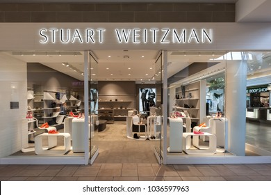 Toronto, Canada - February 12, 2018: Stuart Weitzman storefront in Bayview Village. Weitzman Holdings is known for designing high-end shoes that are handmade at factories in the south of Spain.