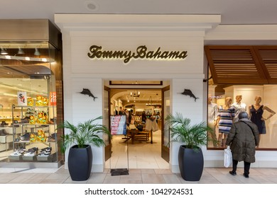 Toronto, Canada - February 12, 2018: Tommy Bahama storefront in Bayview Village Shopping Centre in Toronto,  a Seattle-based manufacturer of casual, men's and women's sportswear and activewear.