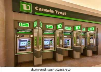 Toronto, Canada - February 12th, 2018: TD Canada Trust ATM in the shopping mall in Toronto. TD is the personal, small business and commercial banking operation of the Toronto-Dominion Bank in Canada.