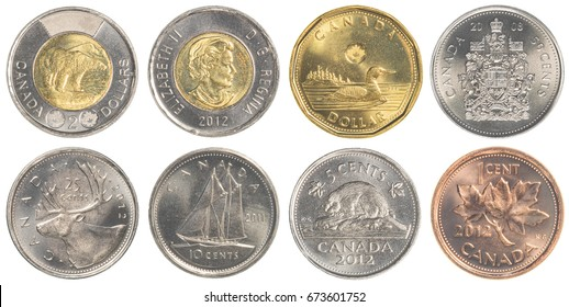 TORONTO, CANADA - FEBRUARY 20, 2015: Canadian dollar coins collection set isolated on white background