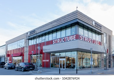 Toronto, Canada- February 22, 2018 : Structube storefront at Shops at Don Mills in Toronto. Structube is a specialty retailer of contemporary and modern home furniture and accessories.
